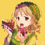 1girl :o banana_slice blouse blueberry brown_eyes brown_hair cake chocolate_cake cupcake earrings fingernails food food_on_face frilled_hairband frills fruit hairband holding holding_food idolmaster idolmaster_cinderella_girls jewelry looking_at_viewer morikubo_nono multicolored multicolored_nails nail_polish okeno_kamoku open_mouth orange orange_hairband raised_eyebrows ringlets short_hair solo strawberry upper_body yellow_background yellow_blouse
