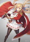 1girl azur_lane blonde_hair cloak commentary_request cuboon drawing_sword epaulettes fur_trim garter_straps hair_ribbon holding holding_sheath holding_sword holding_weapon king_george_v_(azur_lane) medal military military_uniform red_eyes ribbon saber_(weapon) see-through_silhouette sheath skirt smile solo standing sword thigh-highs twitter_username uniform weapon