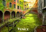 bridge circle_name fantasy gondola graffiti italian_text moss no_humans original outdoors overgrown plant post-apocalypse railing real_world_location ruins scenery stairs sunset tokyogenso venice window