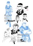 2boys absurdres beret black_hair blonde_hair blush character_name chinese_text commander_(girls_frontline) commentary_request crossed_arms facial_hair feodor_kamolovich_kamolov_(girls_frontline) girls_frontline glasses hat highres miharu_(cgsky) military military_uniform multiple_boys mustache necktie official_art sleeves_rolled_up translation_request uniform