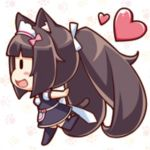 1girl animal_ears black_legwear blush brown_hair cat cat_ears chibi chocola_(sayori) from_side full_body heart long_hair lowres nekopara open_mouth ponytail running sayori simple_background skirt smile source_request tail thigh-highs twintails uniform waitress
