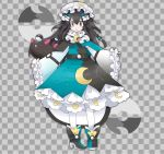 1girl alternate_costume bangs black_hair bow braid checkered checkered_background commentary constellation crescent dress flat_chest full_body gen_7_pokemon grey_background grey_eyes hair_between_eyes hair_bow hair_ornament hat high_heels highres jpeg_artifacts long_hair long_sleeves looking_at_viewer mob_cap moon_ball multicolored multicolored_clothes multicolored_dress multicolored_footwear namako_plum official_style open_mouth pantyhose pigeon-toed pink_eyes plum_(plum_no_bouken_note) plum_no_bouken_note poke_ball poke_ball_symbol pokemon pokemon_(creature) pyukumuku shoes simple_background sleeves_past_wrists solo_focus standing tied_hair twin_braids two-tone_background virtual_youtuber white_headwear white_legwear wide_sleeves