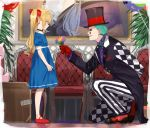 1boy 1girl ahoge arm_behind_back asymmetrical_clothes asymmetrical_pants balloon black_choker blonde_hair blue_dress bow briefcase chair checkered_pants choker closed_mouth clown commentary diamond_(symbol) dress facial_mark flower full_body gift gloves green_hair green_lips hair_bow hat highres holding holding_flower isshiki_(ffmania7) joe_rikiichi kneeling long_coat long_hair long_sleeves looking_at_another makeup nijisanji painting pants plant red_bow red_footwear red_gloves rindou_mikoto_(cameo) smile standing striped striped_pants stuffed_animal stuffed_toy symbol_commentary takamiya_rion top_hat twintails virtual_youtuber younger