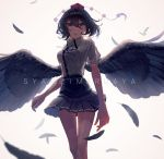 1girl alternate_eye_color bangs black_hair black_neckwear black_ribbon black_skirt black_wings blue_eyes breasts character_name commentary_request eit_(ikeuchi) feathered_wings feathers feet_out_of_frame grey_background hair_between_eyes hat highres looking_at_viewer medium_breasts miniskirt neck_ribbon parted_lips pleated_skirt pom_pom_(clothes) puffy_short_sleeves puffy_sleeves ribbon shameimaru_aya shirt short_hair short_sleeves simple_background skirt solo standing tassel thighs tokin_hat touhou white_shirt wing_collar wings