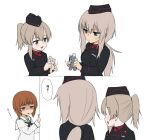 3girls alternate_costume alternate_hair_length alternate_hairstyle around_corner bandages bangs black_headwear black_jacket black_neckwear blouse blue_eyes boko_(girls_und_panzer) brown_eyes brown_hair closed_mouth dress_shirt empty_eyes eyebrows_visible_through_hair frown garrison_cap girls_und_panzer hair_tie hat holding holding_stuffed_animal insignia itsumi_erika jacket kuromorimine_military_uniform light_brown_hair long_hair long_sleeves looking_at_another medium_hair military military_hat military_uniform motion_lines multiple_girls neckerchief ooarai_school_uniform open_mouth peeking_out ponytail red_shirt school_uniform serafuku shaded_face shimada_arisu shirt short_ponytail silver_hair simple_background smile standing stuffed_animal stuffed_toy sweatdrop teddy_bear translated uniform wata_do_chinkuru white_background white_blouse wing_collar