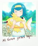 1girl alternate_color blue_eyes blue_hair blue_shorts blue_sky blurry blurry_background blush closed_eyes day english_text facing_viewer gazing_eye gen_1_pokemon hairband highres looking_at_viewer magikarp open_mouth outdoors pokemon pokemon_(creature) pokemon_(game) pokemon_sm polaroid shiny_pokemon shirt short_hair shorts sky sleeveless smile suiren_(pokemon) swimsuit white_shirt yellow_hairband