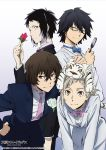2016 4boys absurdres akutagawa_ryuunosuke animal animal_on_head bangs black-framed_eyewear black_hair black_jacket black_pants blue_jacket blue_neckwear brown_eyes brown_hair bungou_stray_dogs closed_eyes collared_shirt dazai_osamu_(bungou_stray_dogs) dress_shirt edogawa_ranpo_(bungou_to_alchemist) flower glasses gradient_hair hand_on_hip highres holding holding_flower jacket leaning_forward looking_at_viewer male_focus multicolored_hair multiple_boys nakajima_atsushi_(bungou_stray_dogs) on_head pants pink_neckwear purple_neckwear red_flower red_rose rose semi-rimless_eyewear shirt short_hair silver_hair simple_background smile torn_clothes torn_pants two-tone_hair under-rim_eyewear white_background white_flower white_jacket white_pants white_rose white_shirt wing_collar