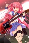 1girl angel_beats! ankle_lace-up blue_sailor_collar blue_skirt choker cross-laced_footwear demon_tail electric_guitar feet_out_of_frame guitar hair_ribbon instrument leg_belt leg_up long_hair looking_at_viewer open_mouth otou_(otou_san) pink_eyes pink_hair pleated_skirt ribbon sailor_collar school_uniform serafuku shinda_sekai_sensen_uniform skirt smile solo tail two_side_up yui_(angel_beats!)