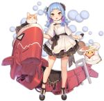 1girl :d alternate_costume animal azur_lane bag bare_legs bird black_flower black_footwear black_gloves black_ribbon blue_hair capelet cat chick dress flower food full_body fur_capelet fur_trim gloves hair_flower hair_ornament hair_rings handbag holding holding_plate layered_dress long_hair looking_at_viewer machinery manjuu_(azur_lane) multicolored_hair official_art open_mouth pink_hair plate red_eyes ribbon sausage shoes smile solo strapless strapless_dress thighs transparent_background tsliuyixin two-tone_hair u-556_(azur_lane) white_capelet white_dress