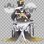 1girl adjusting_headwear alternate_costume arm_up armpits bangs bare_shoulders black_bow black_choker black_dress black_gloves black_hair black_headwear bow braid checkered checkered_background choker closed_mouth commentary dress flat_chest full_body gen_7_pokemon gloves grey_background grey_eyes hair_between_eyes hair_bow hair_ornament happy hat heel_up high_heels jpeg_artifacts long_hair looking_to_the_side namako_plum official_style pantyhose pink_eyes plum_(plum_no_bouken_note) plum_no_bouken_note poke_ball poke_ball_symbol pokemon pokemon_(creature) pyukumuku shoes simple_background sleeveless sleeveless_dress smile solo_focus spaghetti_strap standing tied_hair top_hat twin_braids two-tone_background ultra_ball virtual_youtuber white_legwear yellow_footwear