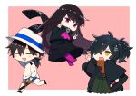 1girl 2boys :d anger_vein bangs black_footwear black_hair black_kimono black_scarf black_shirt black_skirt blush brown_background brown_eyes brown_hair brown_scarf chibi closed_eyes commentary_request double_v eyebrows_visible_through_hair fate/grand_order fate_(series) flying_sweatdrops green_hakama hair_between_eyes hair_over_one_eye hakama hat holding holding_sheath jacket japanese_clothes katana kimono long_hair long_sleeves low_ponytail multiple_boys neckerchief no_shoes okada_izou_(fate) open_mouth oryou_(fate) pants pantyhose parted_lips pink_legwear pink_neckwear pleated_skirt ponytail ryuuki_(hydrangea) sakamoto_ryouma_(fate) scarf sheath sheathed shirt shoes skirt smile soles sword two-tone_background v very_long_hair violet_eyes weapon white_background white_headwear white_jacket white_pants