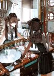 1girl angel_wings asahiro bathroom blinds breasts brown_hair candle capelet commentary dress hat hourglass indoors long_hair mirror muted_color necktie original reflection shower_head sink small_breasts solo sunlight toothbrush twintails underbust water window wings