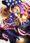 1girl :d alternate_eye_color american_flag american_flag_dress american_flag_legwear arm_up bangs bare_arms bare_shoulders bead_bracelet beads blonde_hair blue_dress blue_eyes blue_legwear blush bracelet breasts clownpiece commentary_request dress earth eyebrows_visible_through_hair flag full_body grey_background hair_between_eyes hat holding holding_flag holding_torch jester_cap jewelry kyouda_suzuka long_hair looking_at_viewer medium_breasts moon nail_polish neck_ruff no_shoes open_mouth pantyhose petticoat polka_dot polka_dot_hat purple_headwear red_dress red_legwear red_nails short_dress simple_background sleeveless sleeveless_dress smile solo space_print star star_print starry_sky_print striped striped_dress striped_legwear torch touhou very_long_hair white_dress white_legwear