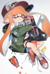 1girl absurdres anklet artist_name autobomb_(splatoon) bags_under_eyes bandaid bangs baseball_cap black_shorts blaster_(splatoon) blunt_bangs cellphone coat commentary cross-laced_footwear domino_mask ear_clip eyebrows_visible_through_hair green_coat grin gym_shorts hat highres holding holding_weapon hooded_coat inkling inkling_(language) jewelry looking_at_viewer lying mask off_shoulder on_side open_clothes open_coat orange_eyes orange_hair phone pointy_ears red_footwear shirt shoes short_shorts shorts signature smile sneakers socks solo splatoon_(series) splatoon_2 surgical_mask tentacle_hair thigh_strap unitoon untied_shoes weapon white_legwear white_shirt