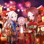 3girls :d ^_^ aerial_fireworks bangs blue_eyes blue_kimono blurry blurry_background blush bow braid brown_eyes brown_hair brown_pants closed_eyes closed_mouth commentary_request covered_mouth creator_connection crossover depth_of_field double_v eyebrows_visible_through_hair fireworks floral_print food forehead fudatsuki_kyouko fudatsuki_no_kyouko-chan hair_between_eyes hair_bow hands_up head_tilt high_ponytail highres holding holding_food japanese_clothes karakai_jouzu_no_takagi-san kimono korean_commentary lantern long_hair long_sleeves low_twintails multiple_crossover multiple_girls night night_sky note2000 open_clothes open_mouth outdoors pants paper_lantern parted_bangs ponytail print_kimono purple_hair red_bow red_kimono shirt shougi_no_yatsu sky smile summer_festival takagi-san twin_braids twintails v very_long_hair white_hair white_shirt wide_sleeves yaotome_urushi