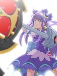 1girl ahoge bangs blue_eyes bow_(weapon) choker commentary_request company_connection crossover cure_selene dress final_form_ride hair_ornament holding kaguya_madoka kamen_rider kamen_rider_dcd kamen_rider_kiva kamen_rider_kiva_(series) long_hair magical_girl precure purple_dress purple_hair solo star_twinkle_precure sweat tj-type1 touei weapon