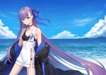 1girl alternate_costume bangs beach blue_eyes blue_ribbon blue_sky blush breasts fate/extra fate/extra_ccc fate_(series) hair_ribbon highres hoodier long_hair long_sleeves looking_at_viewer meltryllis_(fate) ocean purple_hair ribbon sky small_breasts very_long_hair
