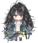 1girl bag bangs bare_shoulders black_footwear black_hair blue_jacket blush boots c-ms_(girls_frontline) chibi closed_mouth commentary_request eyebrows_visible_through_hair full_body girls_frontline hair_between_eyes holding holding_bag jacket kneehighs kotatu_(akaki01aoki00) long_hair looking_at_viewer off_shoulder open_clothes open_jacket red_eyes shirt simple_background sleeveless sleeveless_shirt solo standing striped striped_legwear very_long_hair white_background white_shirt