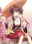 1girl absurdres brown_eyes brown_hair commentary_request flower highres holding holding_umbrella koutetsujou_no_kabaneri looking_at_viewer mumei_(kabaneri) neck_ribbon oriental_umbrella parted_lips purple_ribbon red_skirt rela_xixuegui ribbon short_twintails sitting skirt solo twintails umbrella wide_sleeves