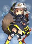 >:( 1girl arknights arm_up axe bangs black_gloves black_shorts blue_background blue_footwear blue_jacket blush boots brown_eyes brown_hair commentary_request eyebrows_visible_through_hair firefighter frown gloves helmet highres holding holding_axe jacket knee_boots knee_pads long_sleeves looking_at_viewer shaw_(arknights) short_shorts shorts signature solo tail v-shaped_eyebrows visor white_headwear xiaoyu