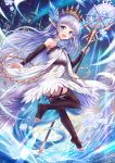 1girl :d bangs bare_shoulders blue_eyes blue_flower blue_hair blue_rose blush brown_legwear brown_sleeves commentary_request crystal detached_sleeves dress eyebrows_visible_through_hair flower full_body granblue_fantasy hair_flower hair_ornament highres holding holding_staff ice lily_(granblue_fantasy) long_sleeves looking_at_viewer looking_back no_shoes open_mouth pointy_ears rose sakura_ani sleeves_past_wrists smile snowflakes soles solo staff thigh-highs tiara toeless_legwear tower white_dress window