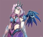 1girl akie_(akieart) alternate_costume alternate_hair_color atlantic_mercy blue_eyes breasts crescent crescent_earrings crescent_hair_ornament crown_hair_ornament earrings elbow_gloves gloves hair_ornament hair_over_one_eye head_tilt jewelry looking_at_viewer mechanical_wings medium_breasts mercy_(overwatch) overwatch purple_hair see-through shoulder_armor smile solo wings