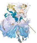 1girl bangs bare_shoulders blonde_hair blue_hair breasts bridal_veil bride collarbone dress earrings feather_trim fire_emblem fire_emblem_heroes fjorm_(fire_emblem_heroes) full_body gradient gradient_hair highres holding jewelry looking_away maeshima_shigeki medium_breasts multicolored_hair official_art parted_lips short_hair solo staff strapless strapless_dress tiara torn_clothes torn_dress torn_legwear transparent_background veil wedding_dress white_dress