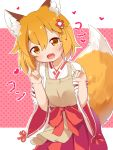 1girl :d animal_ear_fluff animal_ears apron bangs brown_eyes commentary_request double_fox_shadow_puppet eyebrows_visible_through_hair fang flower fox_ears fox_shadow_puppet fox_tail hair_between_eyes hair_flower hair_ornament hands_up head_tilt heart highres japanese_clothes looking_at_viewer makuran miko open_mouth orange_hair outline ribbon-trimmed_sleeves ribbon_trim senko_(sewayaki_kitsune_no_senko-san) sewayaki_kitsune_no_senko-san smile solo tail white_outline wide_sleeves