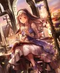 1girl ankle_boots artist_request bird book boots brown_hair candle candlestand church cross cross-laced_clothes cygames eyebrows_visible_through_hair frills habit hands_together long_hair looking_at_viewer marcotte_heretical_sister nun official_art open_mouth plant reading red_eyes rosary shadowverse sitting smile stairs vines