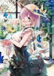 3girls :d animal bag bangs black-framed_eyewear black_skirt blouse blue_flower blush bouquet breasts brick_wall brown_headwear bug butterfly casual commentary_request creature day eyebrows_visible_through_hair fate/grand_order fate_(series) flower fou_(fate/grand_order) fujimaru_ritsuka_(female) glasses hair_over_one_eye hat high-waist_skirt highres hirai_yuzuki holding holding_bouquet insect large_breasts leonardo_da_vinci_(fate/grand_order) looking_at_viewer looking_to_the_side mash_kyrielight multiple_girls open_mouth outdoors pink_blouse pink_flower pink_rose purple_hair rose semi-rimless_eyewear short_hair short_sleeves shoulder_bag skirt smile sun_hat under-rim_eyewear violet_eyes walking white_flower window yellow_flower