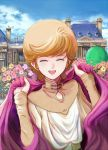 1girl audrey_burne blue_sky cape cloak closed_eyes clouds commentary_request day eating flower gacha-m gundam gundam_unicorn happy haro highres jacket mansion mineva_lao_zabi open_mouth orange_hair short_hair sky smile solo
