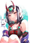 1girl bare_shoulders bob_cut breasts commentary fate/grand_order fate_(series) hazu_t looking_down off_shoulder oni oni_horns purple_hair red_ribbon ribbon short_eyebrows short_hair shuten_douji_(fate/grand_order) shuten_douji_(halloween_caster)_(fate) small_breasts smile solo violet_eyes
