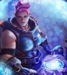 1girl blue_eyes blue_gloves breasts commission eyelashes geirahod gloves gun highres holding holding_gun holding_weapon huge_weapon lips medium_breasts muscle muscular_female nose overwatch particle_projector_cannon pink_hair realistic scar scar_across_eye short_hair sleeveless solo very_short_hair weapon zarya_(overwatch)