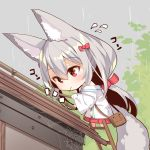 1girl animal_ears bag bangs barefoot blush bow chibi closed_mouth commentary_request eyebrows_visible_through_hair flying_sweatdrops fox_ears fox_girl fox_tail hair_between_eyes hair_bow hair_ribbon holding holding_hammer house jacket ladder leaning_forward long_hair long_sleeves looking_away looking_down mouth_hold nail off_shoulder original outdoors patches pleated_skirt rain red_bow red_eyes red_ribbon red_skirt ribbon rooftop shoulder_bag silk silver_hair skirt solo spider_web tail very_long_hair white_jacket wide_sleeves yuuji_(yukimimi)