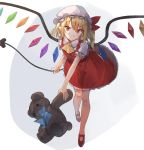 1girl :o ascot bangs blonde_hair blue_bow blue_neckwear blush bow bowtie commentary_request crystal eyebrows_visible_through_hair flandre_scarlet full_body hair_between_eyes hat hat_ribbon holding holding_stuffed_animal kasuka_(kusuki) laevatein long_hair looking_at_viewer mary_janes mob_cap one_side_up open_mouth petticoat pointy_ears puffy_short_sleeves puffy_sleeves red_eyes red_footwear red_ribbon red_skirt red_vest ribbon shirt shoes short_sleeves sidelocks skirt skirt_set solo stuffed_animal stuffed_toy teddy_bear touhou vest white_background white_headwear white_shirt wings yellow_neckwear