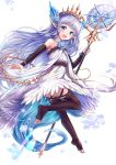 1girl :d bangs bare_shoulders blue_eyes blue_flower blue_hair blue_rose blush brown_legwear brown_sleeves crystal detached_sleeves dress eyebrows_visible_through_hair flower full_body granblue_fantasy hair_flower hair_ornament highres holding holding_staff lily_(granblue_fantasy) long_sleeves looking_at_viewer looking_back no_shoes open_mouth pointy_ears rose sakura_ani simple_background sleeves_past_wrists smile snowflakes soles solo staff thigh-highs tiara toeless_legwear white_background white_dress