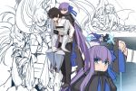 1boy 1girl armor armored_boots black_hair blue_eyes blush boots character_request crotch_plate eyebrows_visible_through_hair fate_(series) frown fujimaru_ritsuka_(male) hair_between_eyes hair_ribbon long_hair long_sleeves looking_at_viewer meltryllis multiple_views pants purple_hair revealing_clothes ribbon shiseki_hirame sketch sleeves_past_wrists very_long_hair