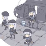 4girls aircraft anger_vein assault_rifle beret black_legwear company_of_heroes girls_frontline gun h&k_hk416 hat helicopter hk416_(girls_frontline) holding holding_gun holding_weapon kneeling multiple_girls pleated_skirt rifle silver_bell sitting skirt weapon