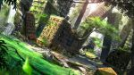 animal bird brick_wall building car commentary_request day dutch_angle grass ground_vehicle highres moss motor_vehicle no_humans original outdoors ruins scenery skyscraper sunlight swordsouls tree water water_tower waterfall window wreckage
