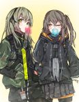 2girls artist_request bubble_blowing chewing_gum commentary english_commentary eyebrows_visible_through_hair girls_frontline green_hair grey_hair hair_ribbon hands_in_pockets highres hood hooded_jacket jacket multiple_girls one_eye_closed one_side_up pantyhose ribbon skirt strap ump40_(girls_frontline) ump45_(girls_frontline) yellow_eyes younger