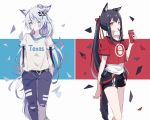 2girls animal_ears arknights bangs black_hair black_pants black_shorts blue_background captain_yue character_name clothes_writing commentary_request crop_top eyebrows_visible_through_hair food food_in_mouth grey_eyes hair_between_eyes hair_ribbon lappland_(arknights) long_hair looking_at_viewer mouth_hold multicolored multicolored_background multiple_girls pants pocky ponytail red_background red_ribbon red_shirt ribbon scar scar_across_eye shirt short_shorts short_sleeves shorts silver_hair tail tank_top texas_(arknights) very_long_hair white_background white_shirt white_tank_top