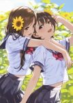 2girls absurdres arm_up bangs blue_eyes blue_skirt blurry blurry_background bow bowtie breasts brown_eyes brown_hair clouds cloudy_sky day eyebrows_visible_through_hair fingernails flower from_side hair_flower hair_ornament highres hug hug_from_behind lips long_hair medium_breasts midriff_peek morikura_en multiple_girls open_mouth original outdoors pleated_skirt red_bow sailor_collar scan school_uniform see-through_silhouette serafuku shiny shiny_skin short_hair short_sleeves skirt sky sunflower sunflower_hair_ornament teeth
