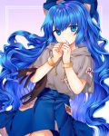 1girl bangs blue_eyes blue_hair blue_skirt bow bracelet cheunes cowboy_shot debt drawstring floating_hair grey_hoodie hair_bow hands_up highres hood hood_down hoodie jewelry long_hair long_skirt looking_at_viewer parted_lips short_sleeves skirt solo touhou very_long_hair violet_eyes wavy_hair yorigami_shion