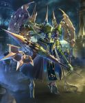 alecto_the_dissonant artist_request building cable cityscape clouds cloudy_sky cygames emblem glowing gold_trim halberd high_heels long_arms looking_at_viewer mecha official_art pelvic_curtain polearm robot shadowverse size_difference sky skyscraper smoke waist_cape weapon