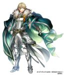 1boy belt blonde_hair blue_eyes boots border_break cape company_name full_body fur_trim gloves green_cape hand_on_hip looking_at_viewer male_focus matsutooooka46t official_art simple_background smile solo standing white_background white_gloves