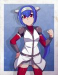 1girl annoyed arm_warmers blue_hair bracer chuunioniika clenched_hands crosscode eyebrows_visible_through_hair facial_scar hair_between_eyes hand_on_hip helmet highres jacket lea_(crosscode) long_hair looking_at_viewer nose_scar ponytail raised_fist red_eyes red_legwear scar shorts shorts_under_skirt shoulder_armor sidelocks solo spaulders standing thigh-highs two-tone_background