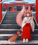 1boy absurdres alternate_costume animal_ear_fluff animal_ears artist_name astolfo_(fate) bangs braid broom commentary day english_commentary eyebrows_visible_through_hair fate/apocrypha fate_(series) fox_ears fox_tail full_body highres japanese_clothes kemonomimi_mode long_hair long_sleeves looking_at_viewer matilda_fiship miko multicolored_hair otoko_no_ko outdoors pink_eyes pink_hair ribbon-trimmed_sleeves ribbon_trim shrine sitting smile snow snowflakes snowing solo stairs streaked_hair tail very_long_hair white_hair wide_sleeves
