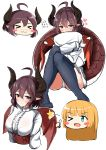 >_< >_o 2girls absurdres ahoge anne_(shingeki_no_bahamut) ass bangs black_legwear blonde_hair blush blush_stickers breasts brown_eyes brown_hair brown_wings center_frills chibi closed_eyes closed_mouth commentary_request covered_mouth cropped_torso dragon_girl dragon_horns dragon_tail dragon_wings eyebrows_visible_through_hair frills grea_(shingeki_no_bahamut) green_eyes hair_between_eyes heart highres horns long_sleeves looking_at_viewer manaria_friends medium_breasts moyoron multiple_girls no_shoes off_shoulder one_eye_closed panties pillow pillow_hug pointy_ears shingeki_no_bahamut shirt simple_background sitting sleeves_past_wrists star tail thigh-highs thumbs_up underwear upper_body wavy_mouth white_background white_panties white_shirt wings