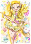 1girl animal_hood blonde_hair bunny_hood cape capelet floating_hair hair_ornament hair_scrunchie hanzou highres holding holding_spoon hood hood_down hooded_capelet kasugano_urara_(yes!_precure_5) leg_up long_hair looking_at_viewer miniskirt precure scrunchie shiny shiny_hair skirt solo spoon standing standing_on_one_leg striped striped_scrunchie yellow_cape yellow_eyes yes!_precure_5