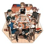 2girls 3boys black_hair blonde_hair book bottle brown_hair cabbie_hat can chair hat indoors multiple_boys multiple_girls newo_(shinra-p) original pantyhose pointing ponytail ribbed_sweater round_eyewear sitting suspenders sweatdrop sweater table tabletop_rpg twintails vest watch watch